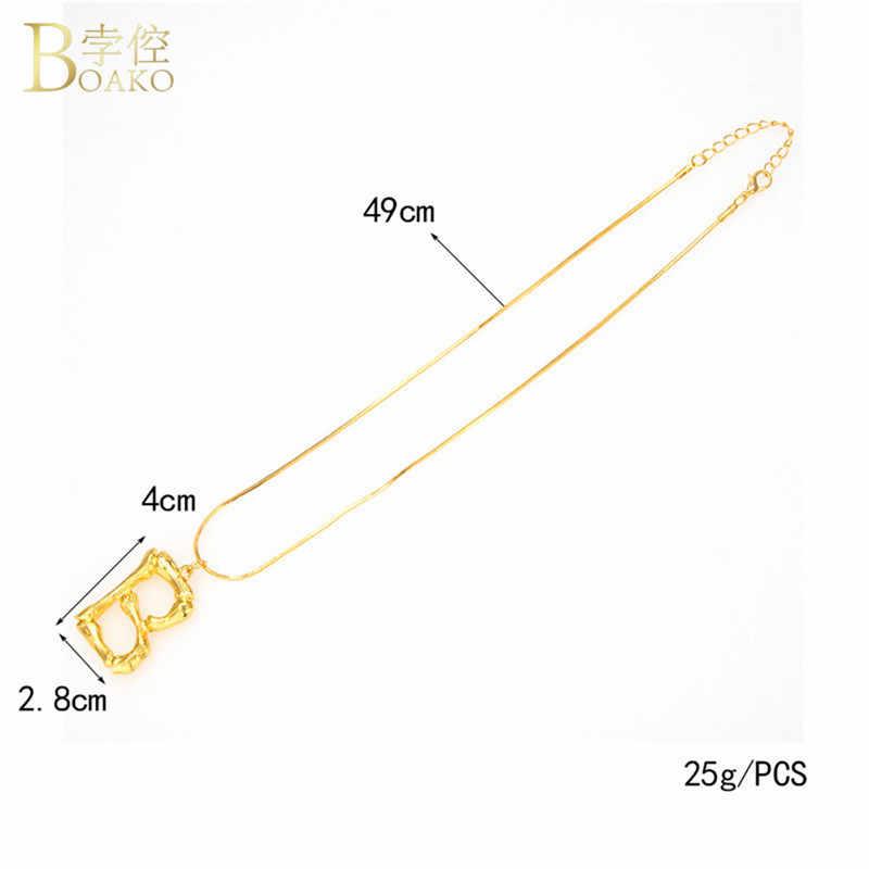 BOAKO ビッグバンブー頭文字ネックレス女性ゴールドシルバー A-Z 溶岩アルファベットペンダントネックレスビジューカスタム名のヒップホップジュエリー