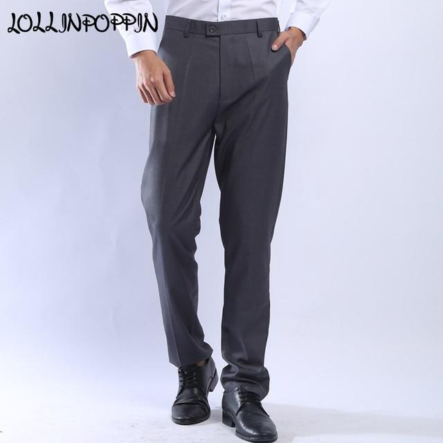 e162b0e04e17 Mens Suit Pants Gray / Black Men Formal Business Pants Slim Fit Dress Pants  Wedding Pants For Men Flat Front