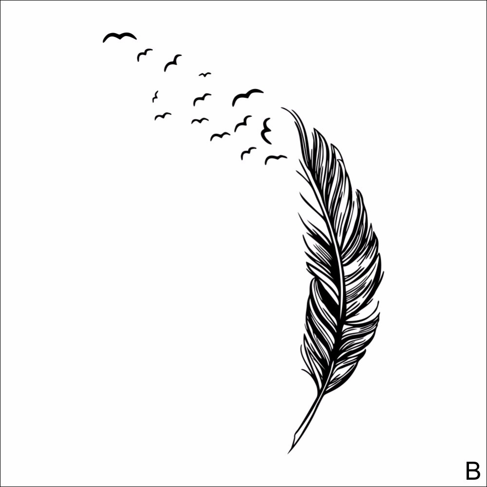 Feather Wall Sticker Home Decor Plume Wallpaper Poster