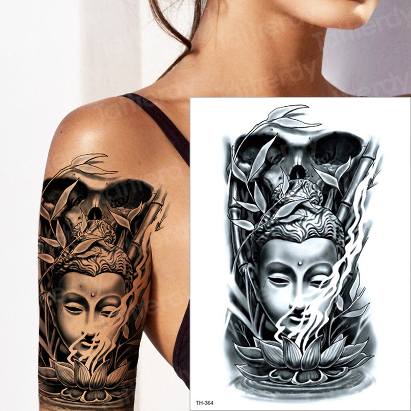 Temporary Tattoo Arm Sleeves Chinese Buddha Lotus Seat Bamboo Tattoo Sticker Sey Girls Holy God Symbol Wolf Forest Body Paint