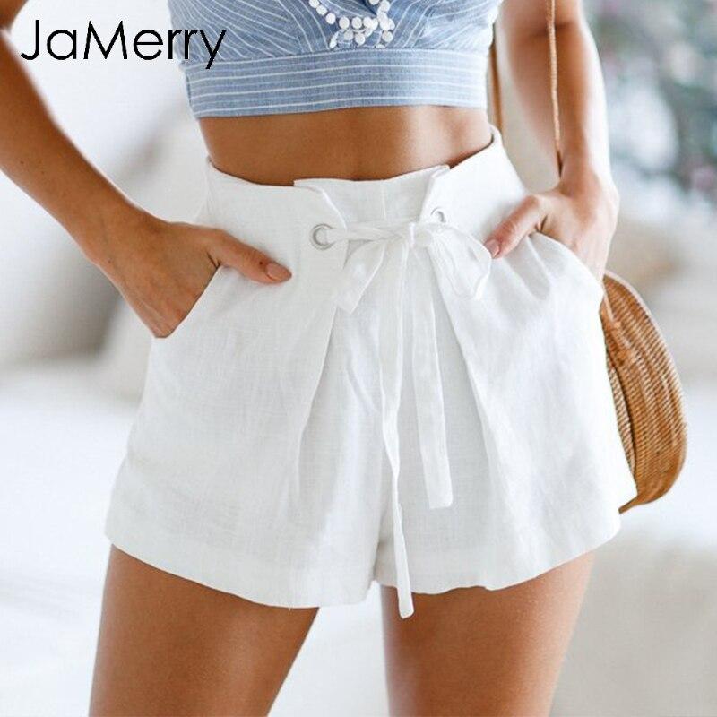 JaMerry High waist tie up pink plaid   shorts   Women Casual zipper white   shorts   bottom 2019 Streetwear beach summer   shorts   female