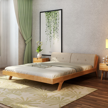 Home Bed Bedroom Furniture Home Furniture Nordic simple modern solid ...