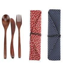 Nosii многоразовые элегантные ретро деревянные бамбуковые столовые приборы с сумками/столовая посуда ложка Вилка палочки для еды портативный набор посуды