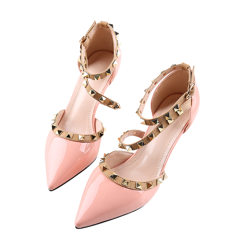 Women High Heels Pointed Toe Rivet Pumps Fashion Brand Women Shoes 2017 Italian Ankle Strap Shoes wetkiss 2017 brand women pumps kid suede genuine leather summer pumps for women fashion pointed toe ankle strap high heels shoes