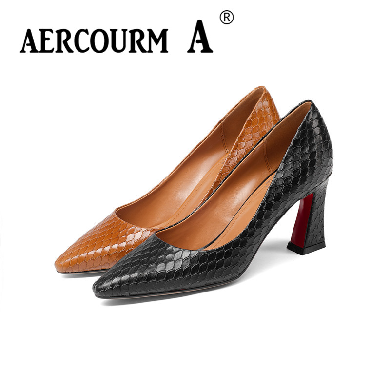 Aercourm A 2018 Women Serpentine Skin Surface Shoes Ladies Shallow Genuine Leather Shoes Square Heel Pumps New Office Shoes Z318Aercourm A 2018 Women Serpentine Skin Surface Shoes Ladies Shallow Genuine Leather Shoes Square Heel Pumps New Office Shoes Z318