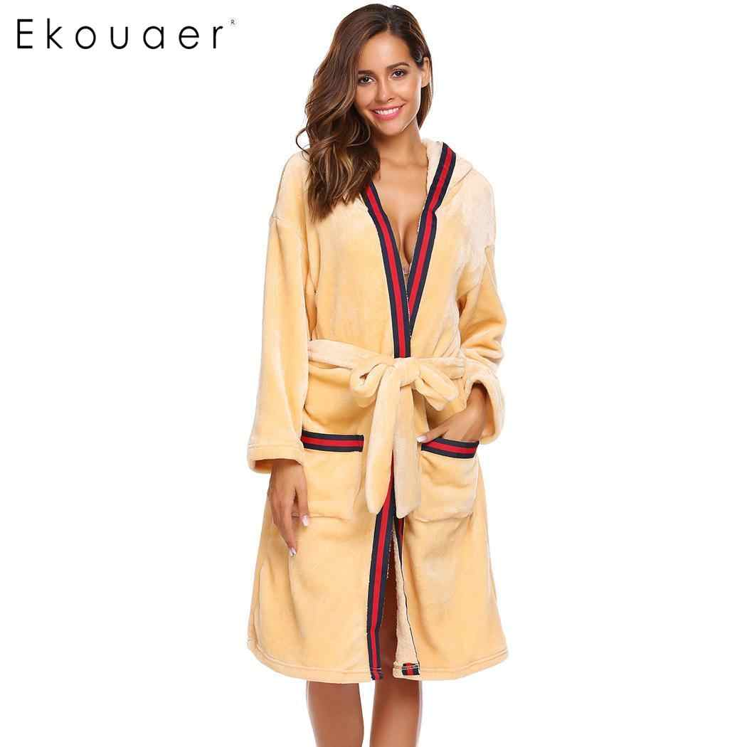 6f7cc45817 Ekouaer Sleepwear Robe Women Bathrobe Casual Long Sleeve Hooded Women Warm  Winter Kimono Spa Robes S
