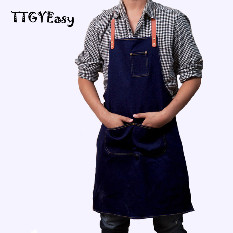 2017 Hot Sale Apron Denim Detachable Cowboy Antifouling Uniform Unisex Aprons for Woman Men Kitchen Chef