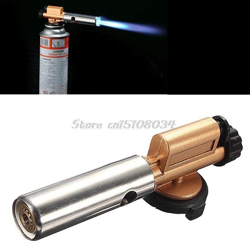 Portable Gas Torch Jet Flame Maker Lighter Gun Butane Weld Burner for Picnic BBQ S08 Drop ship windproof plastic butane jet torch lighter with cap brown