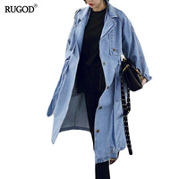 RUGOD Spring Autumn Women Casual Loose X Long Denim Trench Coat Female Denim Overalls Plus Size Adjustable Waist Denim Coat