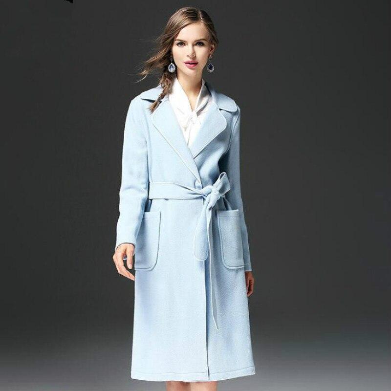 Manteau Style Mince Veste Revers Américain Mode Laine Dames Européen 2019 Long De Nouvelles Et wAw6Tqx8