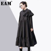 EAM 2018 New Spring Lapel Long Sleeve Cascading Ruffles Hem Fold Split Joint Loose Black