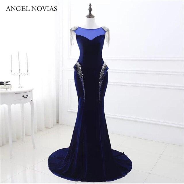 ANGEL NOVIAS Real Long Mermaid Royal Blue Prom Dress 2019 Long Party  Vestidos De Graduacion Elegant Prom Gowns In Stock 6450ded7572a