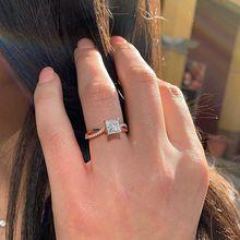 Huitan Classic Wedding Finger Ring Rose Gold Color Prong Setting Anniversary Proposal Women Wholesale Lots&Bulk Jewelry