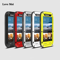 Love Mei Metal Armor Shockproof Case For HTC One M9 Cover Powerful Aluminum Outdoor Waterproof Case