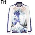 Весна Осень Повседневная Куртка Женщин Основные Пальто Волна 3D Печати Молния Куртку Jaqueta Feminina #161617