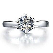 Тесты положительный Charles& Colvard бренд 0,6 CT Ювелирные изделия с синтетическими алмазами Муассанит кольцо Косынка зубцами стерлингового серебра Обручение