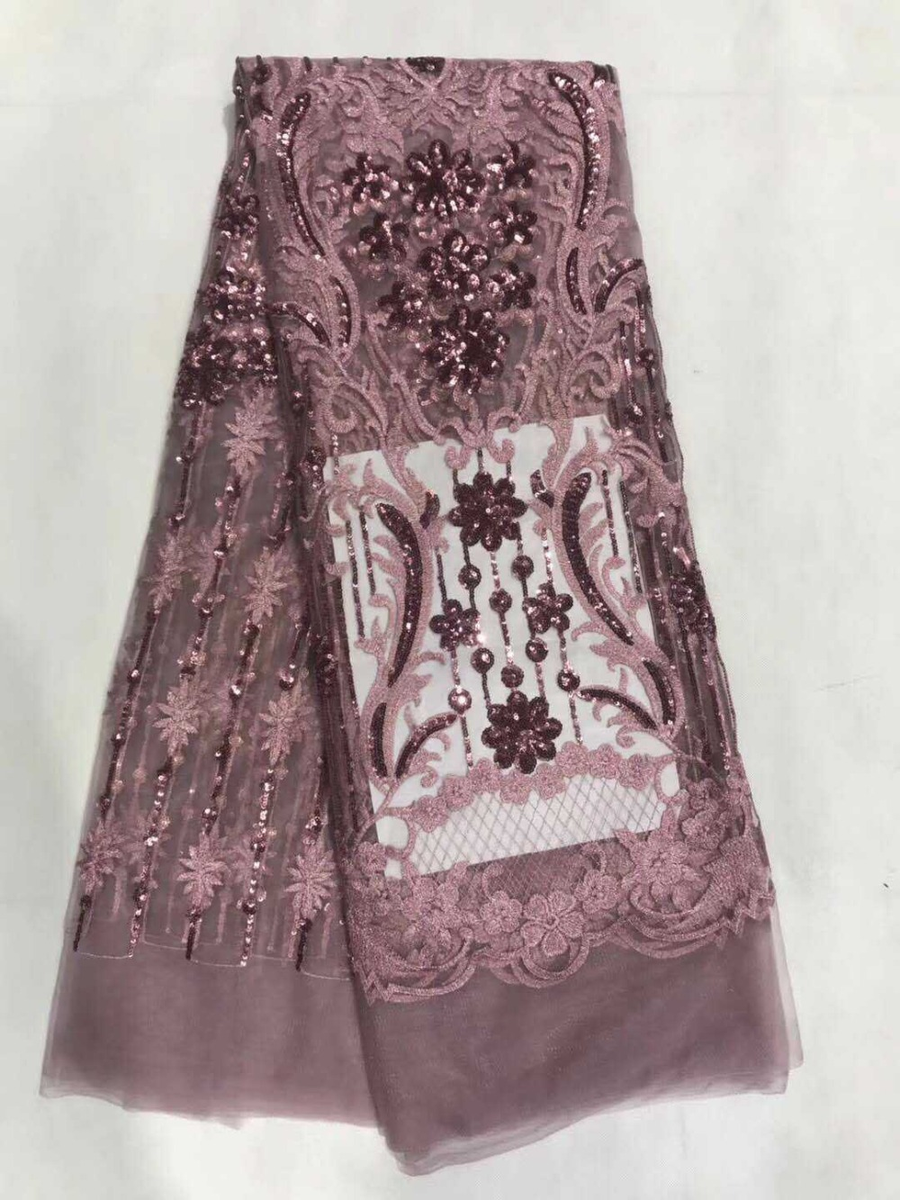 Panlonghome High Quality 5Yards 3D Three Dimensional Applique Lace Fabric Wedding Dress Costumes Sequins Embroidered Fabric JL39 in Lace from Home Garden