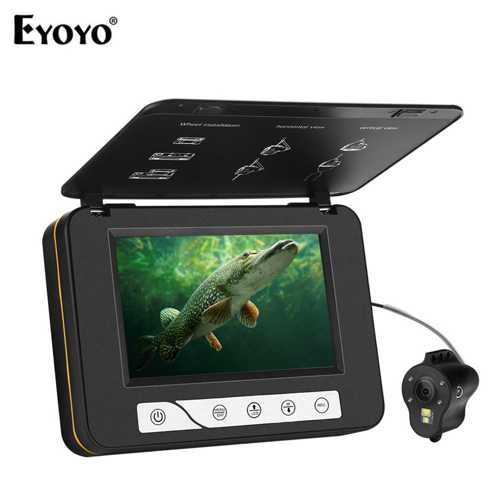 Cámara de pesca submarina Eyoyo EF15R 15M 5 Fish Finder Video CAM blanco e infrarrojo visión nocturna LED DVR 8GB para pesca en hielo