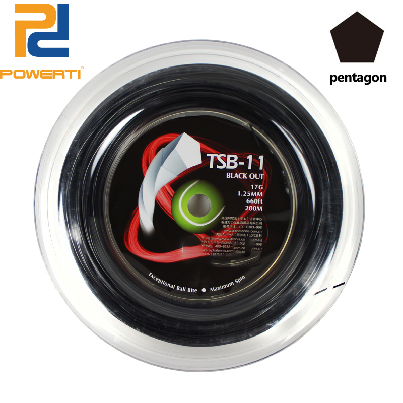 Powerti 1.25mm Black Twist Pentagon Polyester Tennis String 200m Reel Durable Training Tennis String TSB-11 powerti hexagonal polyester tennis string 200m reel string durable 1 25mm tennis racket tennis racquet tsb10