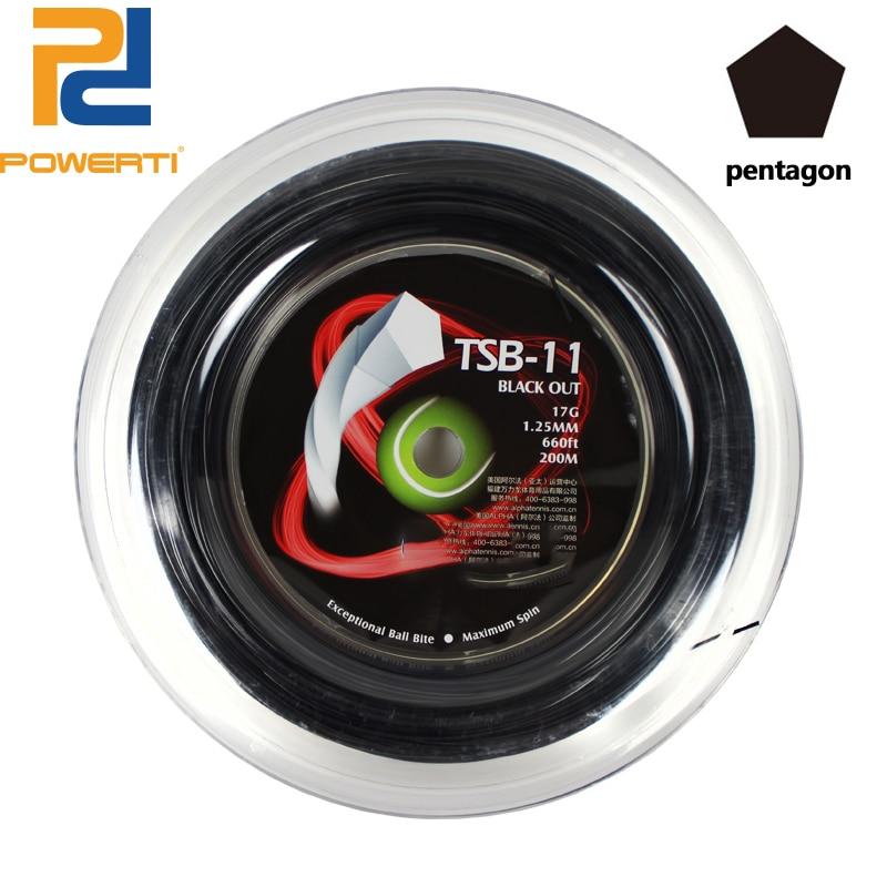 Powerti 1.25mm Black Twist Pentagon Polyester Tennis String 200m Reel Durable Training Tennis String TSB-11