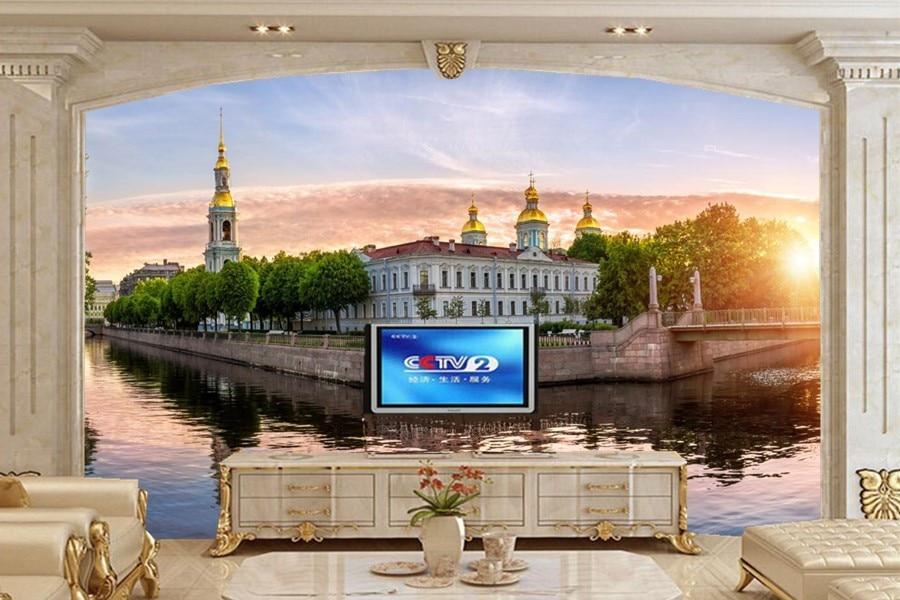 Large 3d murals,Russia St. Petersburg Bridges Temples Canal Cities wallpapers,living room sofa tv wall bedroom papel DE parede bridges of st petersburg