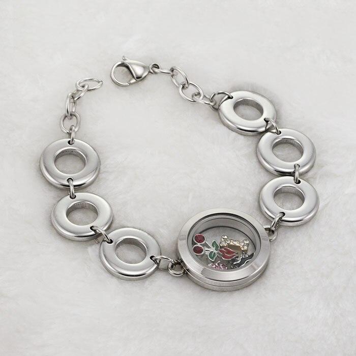 Top selling 316L stainless steel memory locket bracelet with 25mm plain waterproof floating locket