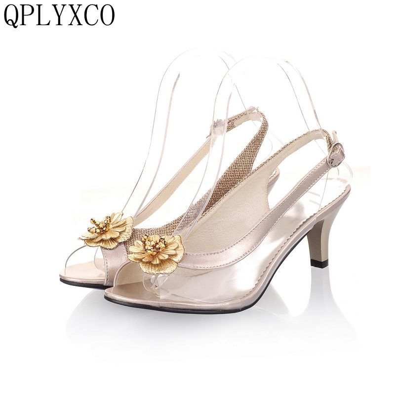QPLYXCO 2017 Consic Big & Small Size 30- 46 Summer Sandals stlye lady Fashion Dress Shoes High Heel Party Shoes Women Pumps D23 plus big size 34 43 sandals ladies platforms lady fashion dress shoes sexy high heel shoes women pumps a25