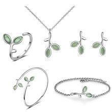 925 Sterling Silver Minimalist Opal Green Leaves Jewelry Set