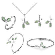 XIYANIKE 925 Sterling Silver minimalistyczny Opal zielony liść liście zestawy biżuterii dla kobiet Lover prezent urodzinowy NE + EA + BR + BA + RI 2019