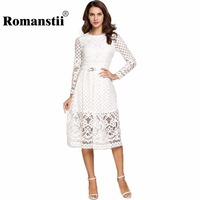 Romanstii Lace Dress 2017 Spring Autumn Robe Long Sleeve Round Collar Hollow Out Knee Length Black White Dresses With Belt Tunic