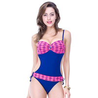 2016 New Sexy One Piece Swim Suit Patchwork Rhyinestone Plaid Lady Underwire Swimsuit Thickened Slim Come