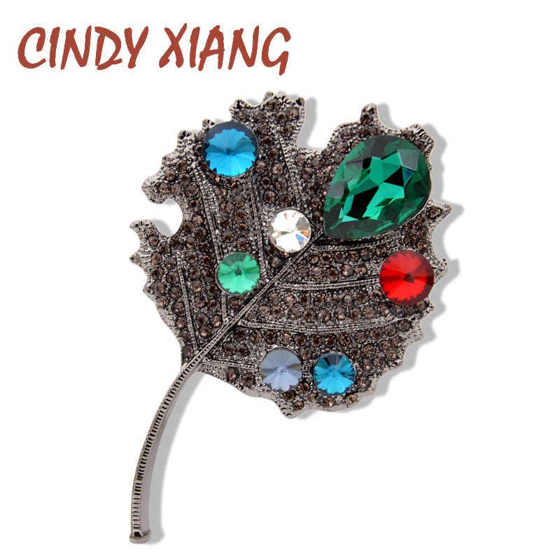 Cindy Xiang Berlian Imitasi Berlian Imitasi Daun Bros untuk Wanita Fashion Sweter Mantel Bros Pin Besar Elegan Aksesoris Hadiah Yang Bagus