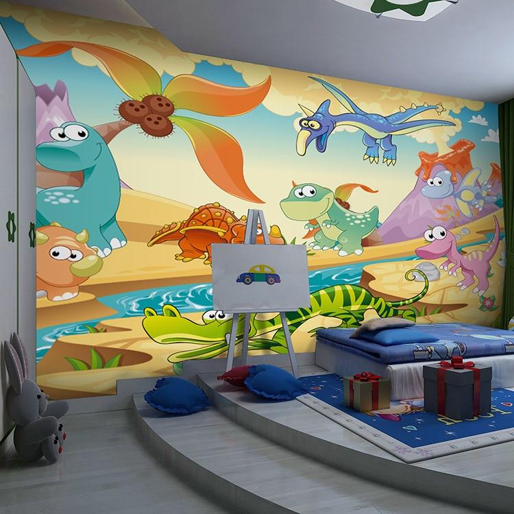 Free shipping 3d cartoon infants bedroom children 39 s room for Dinosaur mural wallpaper