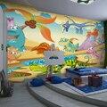 Libre del envío 3D de dibujos animados niños dormitorio habitación de los niños mural wallpaper perspectiva dinosaurio juegos de graffiti Personalizado Tamaño