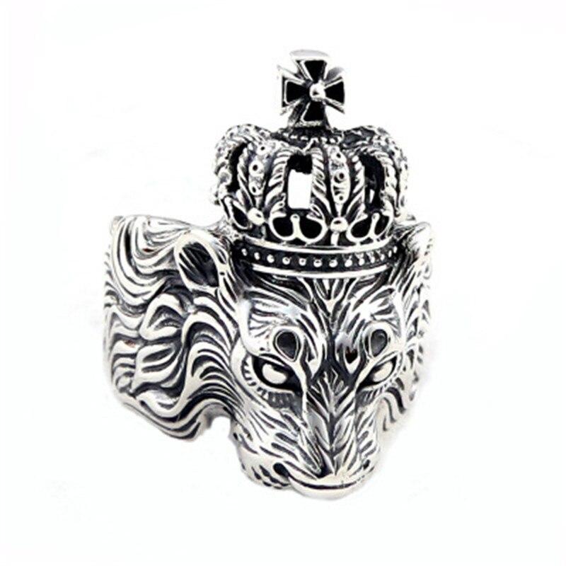 BESTLYBUY bague homme 100% réel 925 bijoux en argent sterling Vintage Animal Lion couronne croix anneau ouvert cadeau de noël