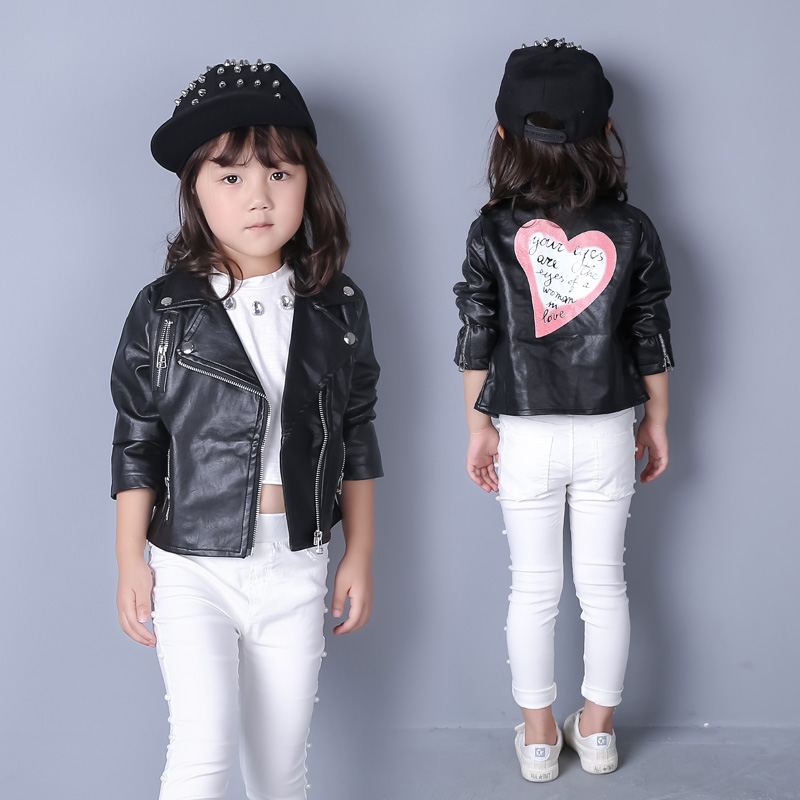 Hot sale 2016 baby girls leather jacket autumn child toddler girl heart shape back PU jackets coat fashion designer outwear недорого