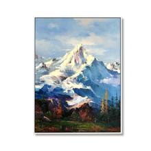100% Hand Painted Abstract Modern Snow Mountain Peaks Art Oil Painting On Canvas Wall For Live Room Home Decor