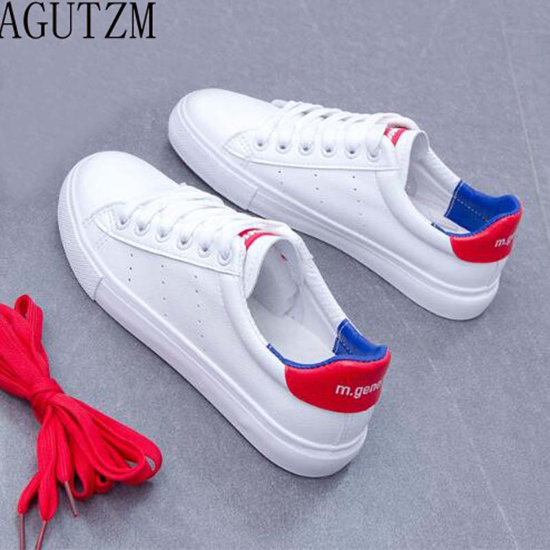 AGUTZM Women White Shoes 2018 Spring New Female Casual Shoes Fashion Sneakers flat womens shoes v102