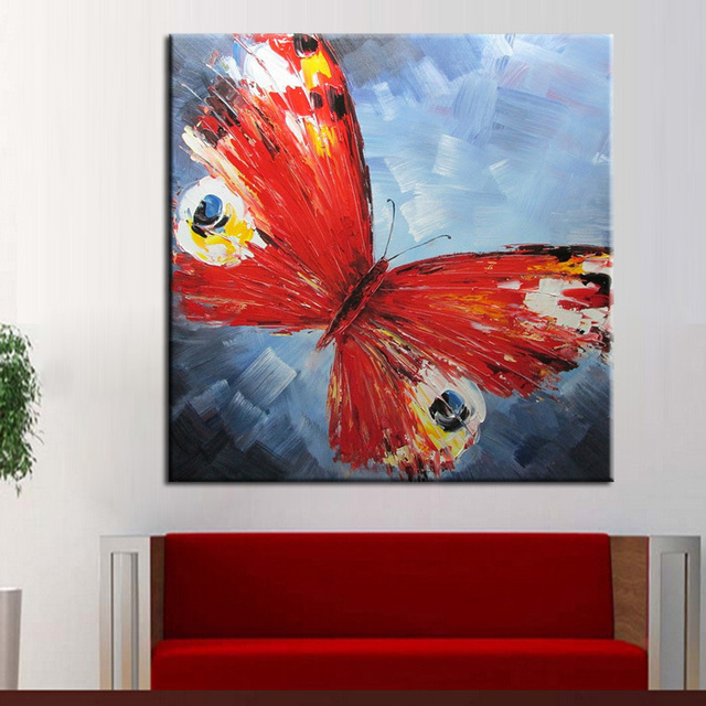 Aliexpress.Com : Buy Beautiful Red Butterfly Oil Painting On