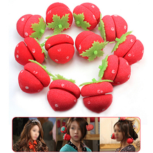 Hot 12pcs Strawberry Balls Hair Care Soft Sponge Roll Rollers Styling Curlers Lovely DIY Tools 5W71 7FXT
