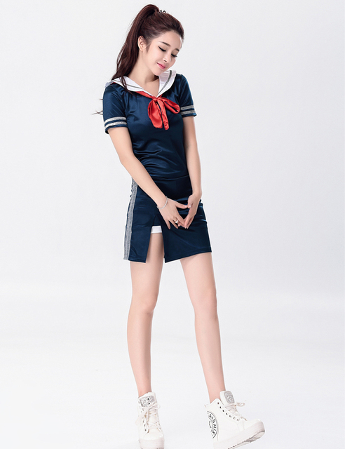 MOONIGHT Singer Stage Show Deep Blue Clothing Outfit Nightclub Performance Wear Singer Lead Dancer Clothing with Bow 4