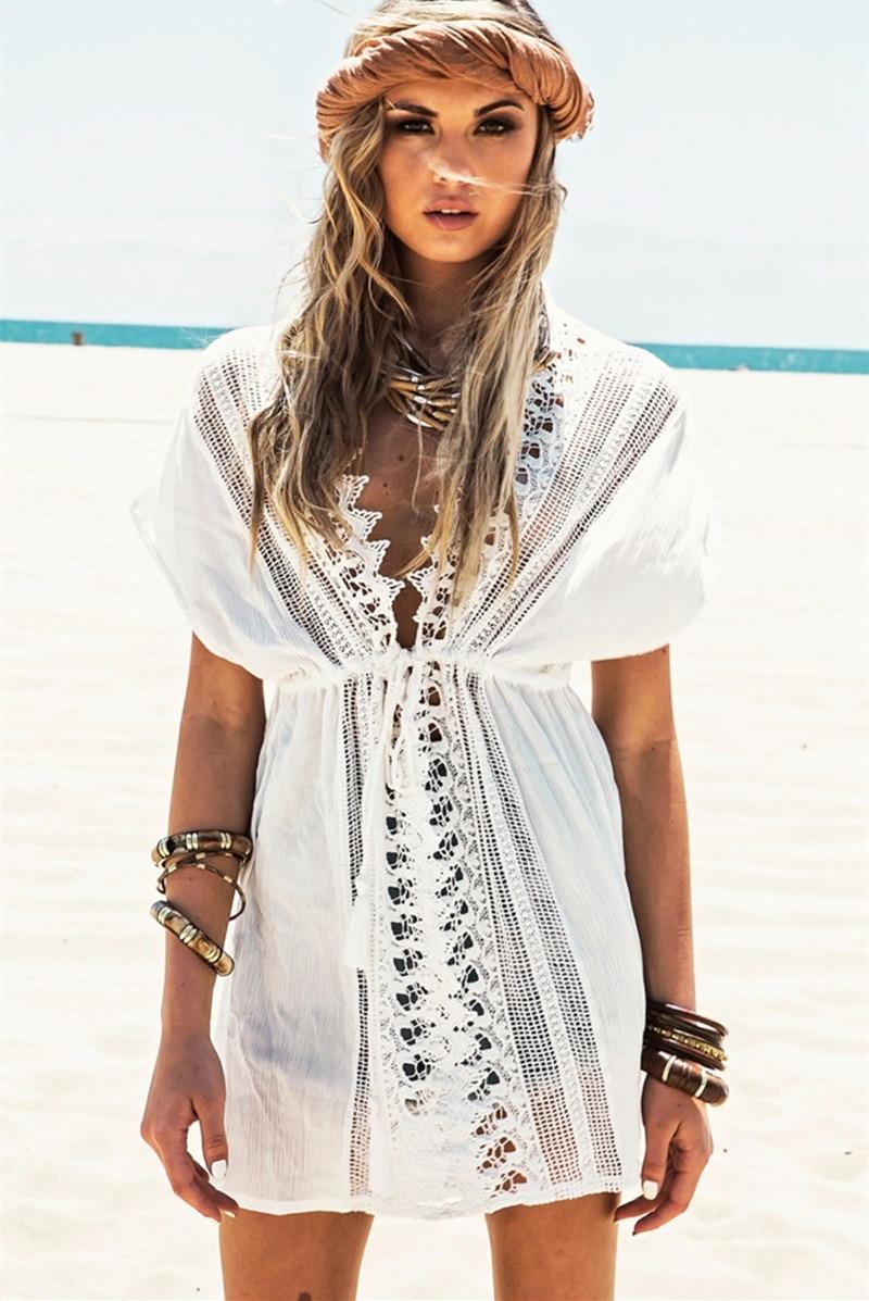 Pareo Beach Swimsuit Lace Hollow Crochet Bikini Cover Up Women Tops Swimwear Beach Dress White Beach Tunic Shirt Robe De Plage