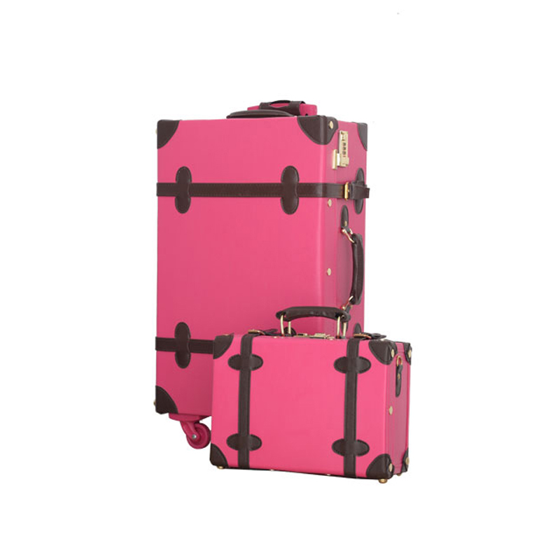 12 24inches retro suitcase box,female korea fashion red bride luggage set,vintage pu leather retro trolley luggage on wheels