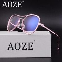 2017 Luxury AOZE Crystal Rhinestone Oversized Sunglasses For Women Optical Glasses Frame Clear Lens Anti UV400