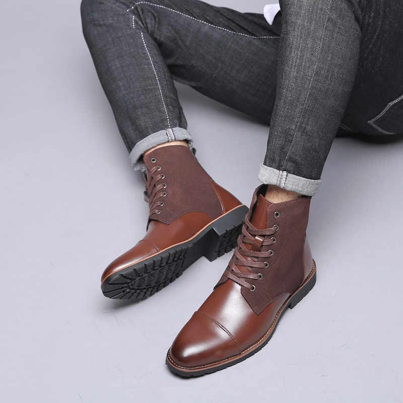 38-48 hommes bottines en cuir court en peluche chaussures d'hiver hommes décontracté affaires bottes de neige hommes imperméable automne tendance Cowboy chaussures