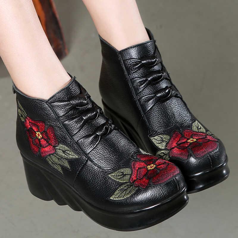 GKTINOO moda el yapımı kadınlar için hakiki deri ayak bileği ayakkabı bağbozumu platformu kadın ayakkabı yuvarlak ayak takozlar