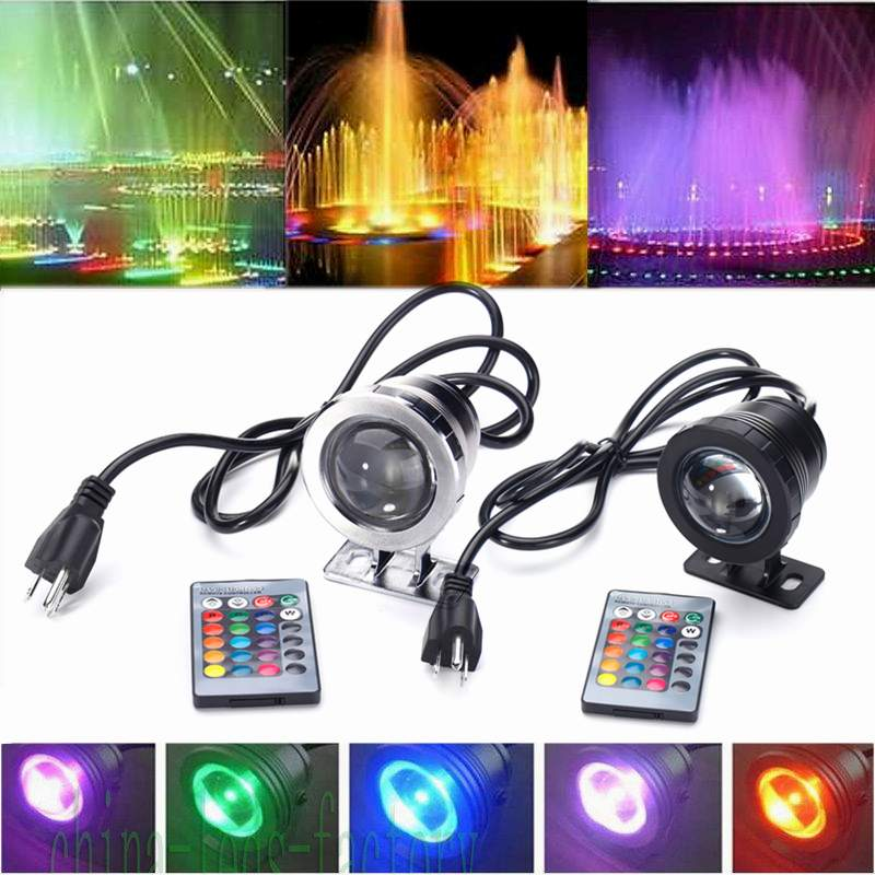 AC85-265V 15W RGB Underwater LED Spot Light Flood Light Lamp +Controller Outdoor Underwater Lighting  IP68 Waterproof For Pond