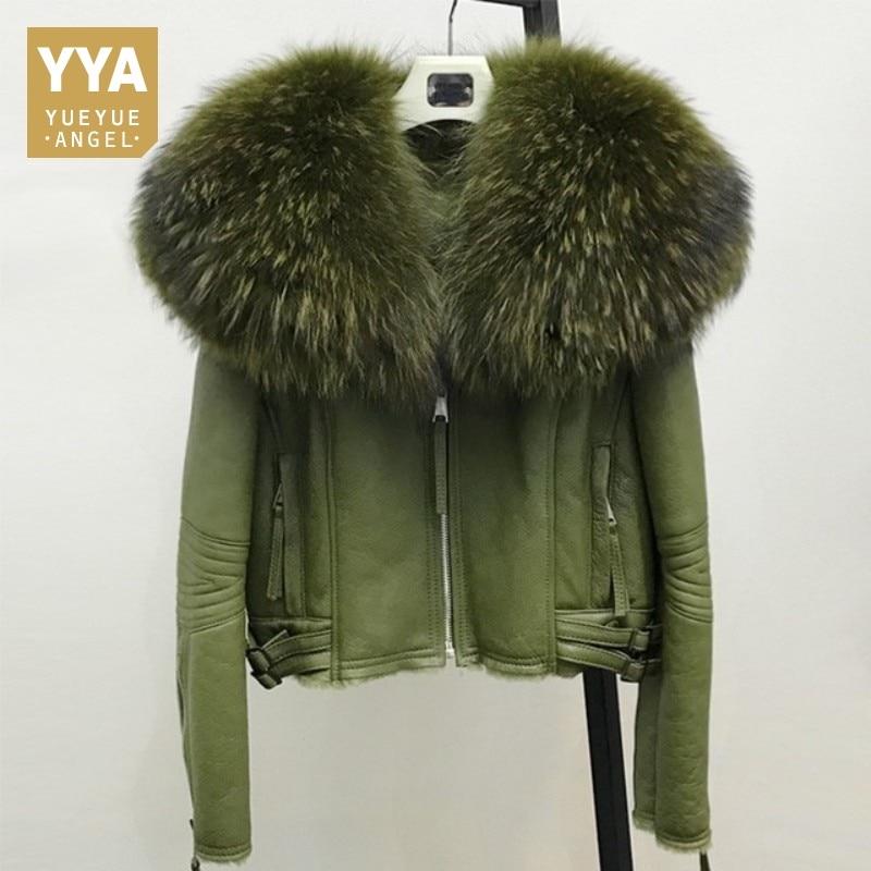 Women Real Sheep Fur Coat Winter Warm Fashion Genuine Sheepskin Leather Shearling Jacket Natural Real Large Raccoon Fur Collar