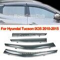 4PCS Chrome Trim Window Vent Visors Rain Guards Sun Shield For Hyundai Tucson IX35 2010-2015