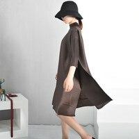 [EAM] 2018 Summer New Fashion Tide Turtleneck Solid Color Loose Fold Stitch Knee length Vintage Dress Women Fashion Tide EB0